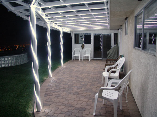 Night view LED lit patio cover.