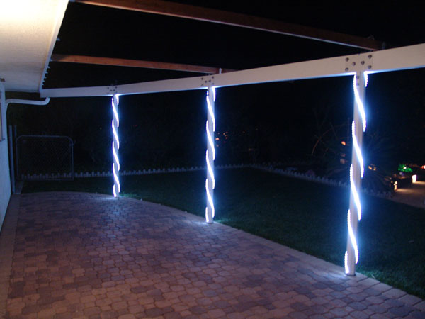 White light emitting diode led illuminated patio cover the patio posts installed workwithnaturefo